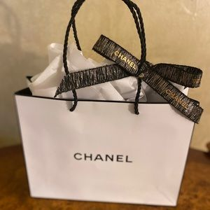 Authentic Chanel Paper gift bag with ribbon
